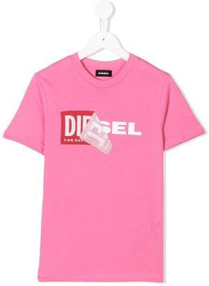 Diesel peel off logo T-shirt