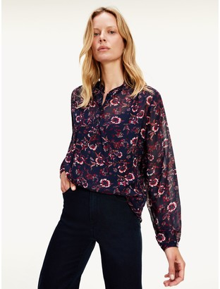 Tommy Hilfiger Floral Chiffon Popover Blouse