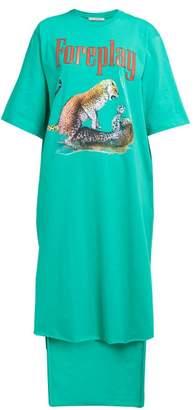 Christopher Kane Foreplay Cotton Jersey T Shirt Dress - Womens - Green Multi