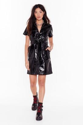 Nasty Gal Womens Slick Down Vinyl Shirt Dress - Black - S