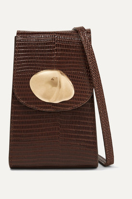 Little Liffner Lizard-effect Leather Shoulder Bag - Dark brown