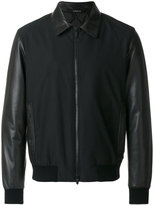 Z Zegna panelled leather jacket - men - Lamb Skin/Polyester/Wool - M