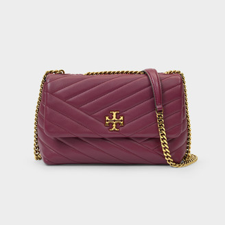 Tory Burch Baguette Bag Kira In Quilted Burgundy Leather