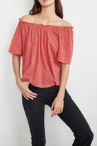 Velvet Red Off Shoulder Top