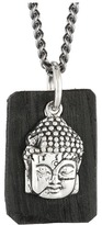 King Baby Studio Meditating Buddha Pendant Necklace w/ Leather Tag Necklace