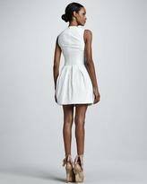Vera Wang Corseted Cotton Poplin Dress, White