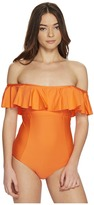 Splendid Sun-Sational Solids Removable Soft Cup Off the Shoulder One-Piece Women's Swimsuits One Piece