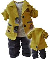 WEONEDREAM Baby Boys 3 Pieces Cloth Sets Shirts + Windbreaker Jacket + Jeans Pants (New Yellow,12M)