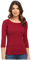 Three Dots Essential British Neck 3/4 Sleeve Top