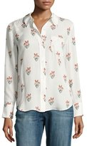 A.L.C. Scott Long-Sleeve Printed Silk Georgette Blouse, White