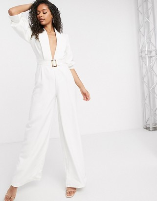 Aria Cove plunge front belted tailored jumpsuit in white