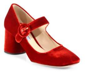 Prada Velvet Mary Jane Block Heel Pumps
