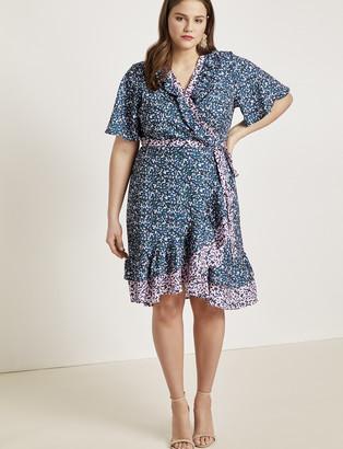 Contrast Ruffle Wrap Dress