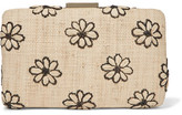 Kayu Daisy Embroidered Woven Straw Clutch - one size
