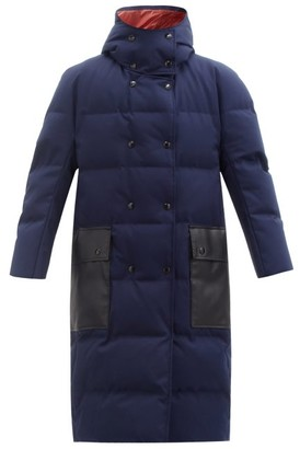 Marni Hooded Contrast-pocket Quilted Down Coat - Blue