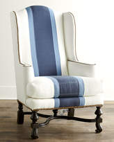 Horchow Massoud Blue Colorblock Wing Chair