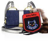Miu Miu Denim, Metallic Leather & Fur Shoulder Bag