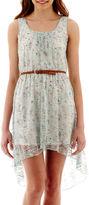 As U Wish LOVE REIGNS Sleeveless High-Low Hem Print Lace Dress