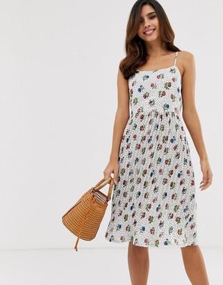 Yumi floral spot print cami sun dress-White