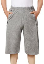 LETSQK Men's Plus SizeLong Loose Workout Running Shorts with Pockets Lightgrey XL