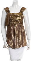 Vera Wang Metallic Drape-Accented Top w/ Tags