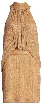 Halston Tie Mockneck Dress