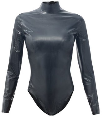 Saint Laurent High-neck Latex Bodysuit - Black