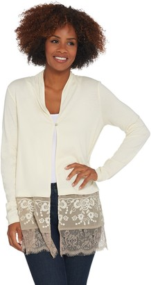 Logo by Lori Goldstein LOGO Lavish by Lori Goldstein Embroidered Cardigan with Mesh Details