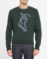 Carven Forest Green Round-Neck Sweatshirt with Contrasting Grey Figure