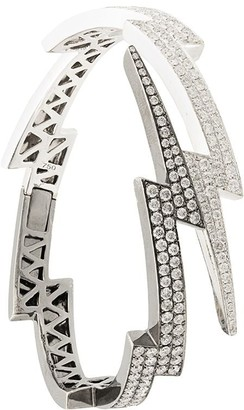 Anita Ko 18kt white and black gold diamond Lightning Bolt cuff