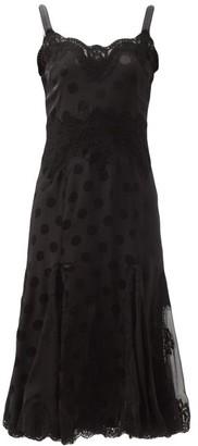Dolce & Gabbana Lace-trimmed Polka-dot Silk-blend Slip Dress - Black