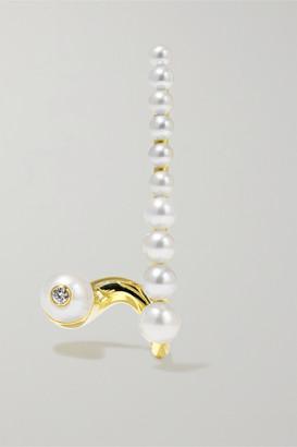 KatKim Crescendo Gold, Diamond And Pearl Earring - L