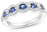 Zales Blue Sapphire and 1/3 CT. T.W. Diamond Edge Five Stone Wavy Band in 14K White Gold