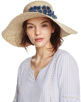 Aqua Straw Floppy Sun Hat with Rosette Trim - 100% Exclusive
