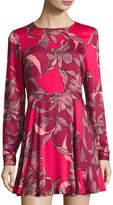 MinkPink Mink Pink Femme Fatale Fit & Flare Dress, Red Pattern