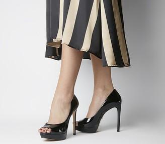 Office Honeyhoney Peep Toe Platform Court Heels Black Patent Leather