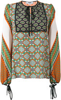 MSGM multi-print longsleeved blouse - women - Silk - 42