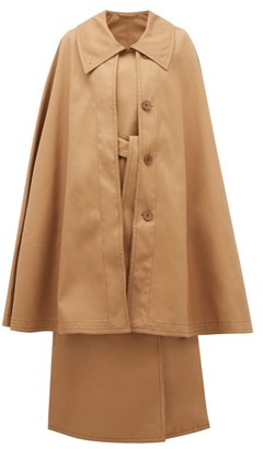 Lemaire Double-breasted Twill Trench Cape - Tan