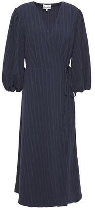 Ganni Clark Pinstriped Stretch-crepe Midi Wrap Dress