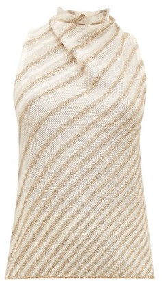 Missoni Metallic-striped Knit Top - Cream Gold
