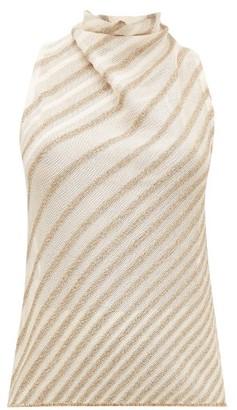 Missoni Metallic-striped Knit Top - Womens - Cream Gold