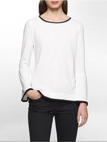Calvin Klein Contrast Trim Textured Bell Sleeve Sweater
