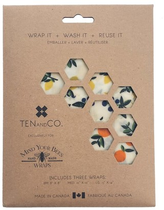 Ten and Co. Beeswax Food Wraps Vintage Fruit Set of 3