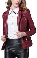 OCHENTA Women's PU Leather Short Motorcyle Outwear Bomber Jacket