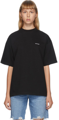 we11done Black High-Neck Logo T-Shirt