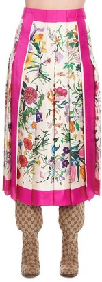 Gucci Floral Pleated Skirt