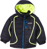 London Fog Navy & Yellow Logo Puffer Coat - Boys