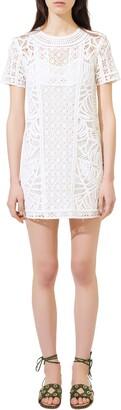 Maje Crochet Short Sleeve Cotton Shift Dress