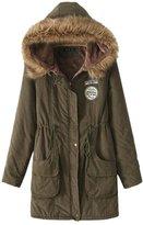 Win8Fong Women's Fashion Thicken Fleece Faux Fur Hooded Parka Winter Coat (, S)