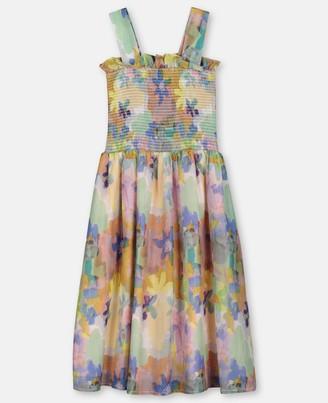 Stella McCartney Kids painted flowers cotton silk dress